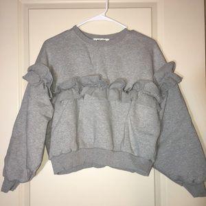 Pixie Market ruffled sweatshirt with fleece lining